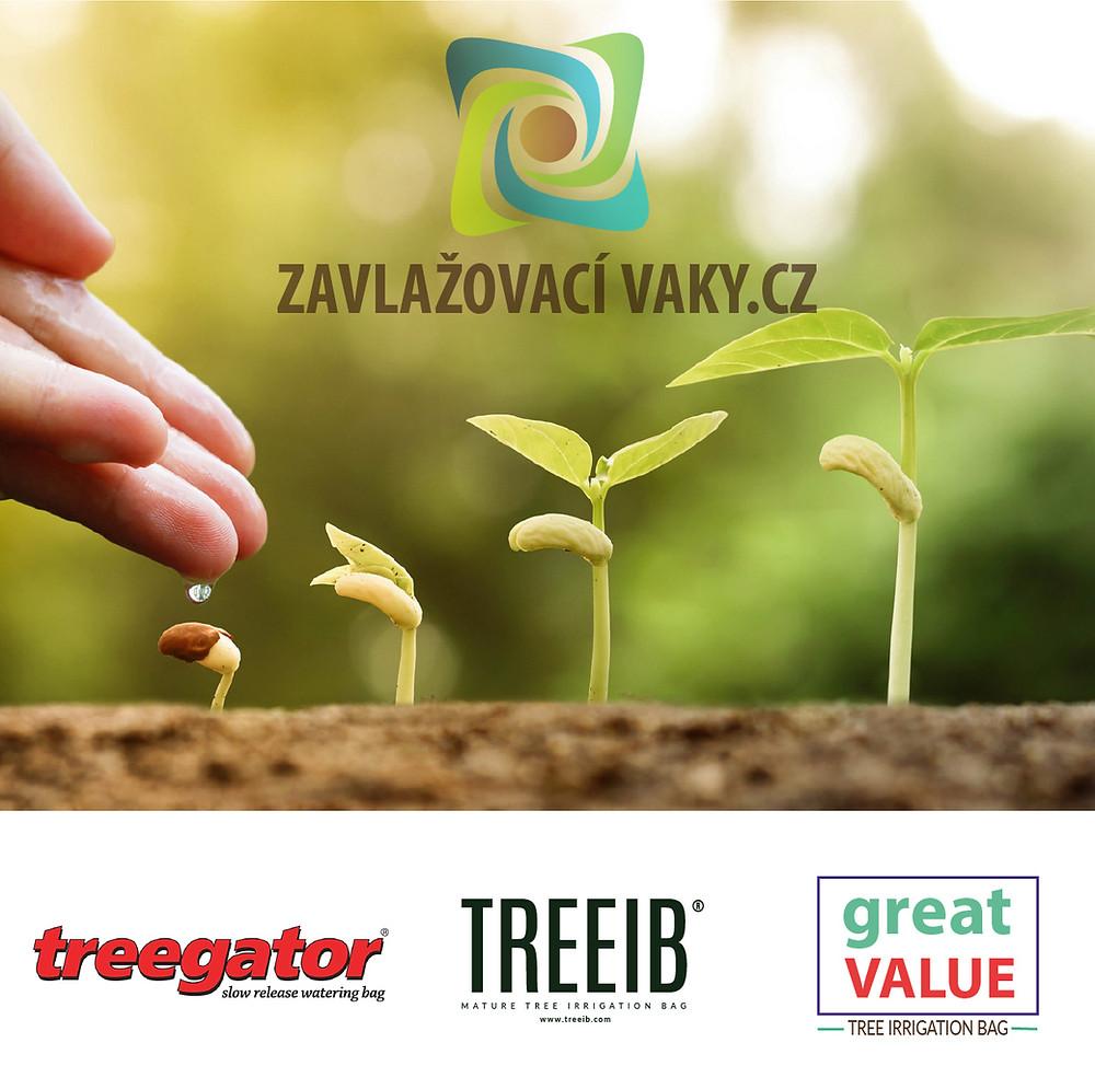 Značky zavlažovacách vaků, které prodáváme na https://obchod.zavlazovacivaky.cz/ Treegator TREEIB a Great Value
