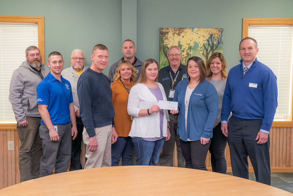 Region Five Development Commission's Regional Yellow Ribbon Program committee receiving check from Sourcewell representatives