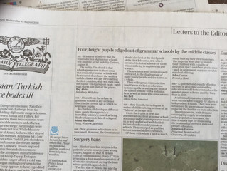 Letter published in the Daily Telegraph