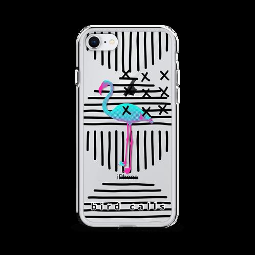 Bird Calls Neon Flamingo Fly Art iPhone Case