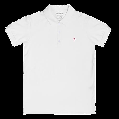 Embroidered Flamingo Icon Women's Polo Shirt