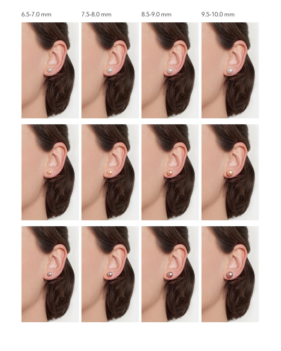 Sizing guide for pearl earrings