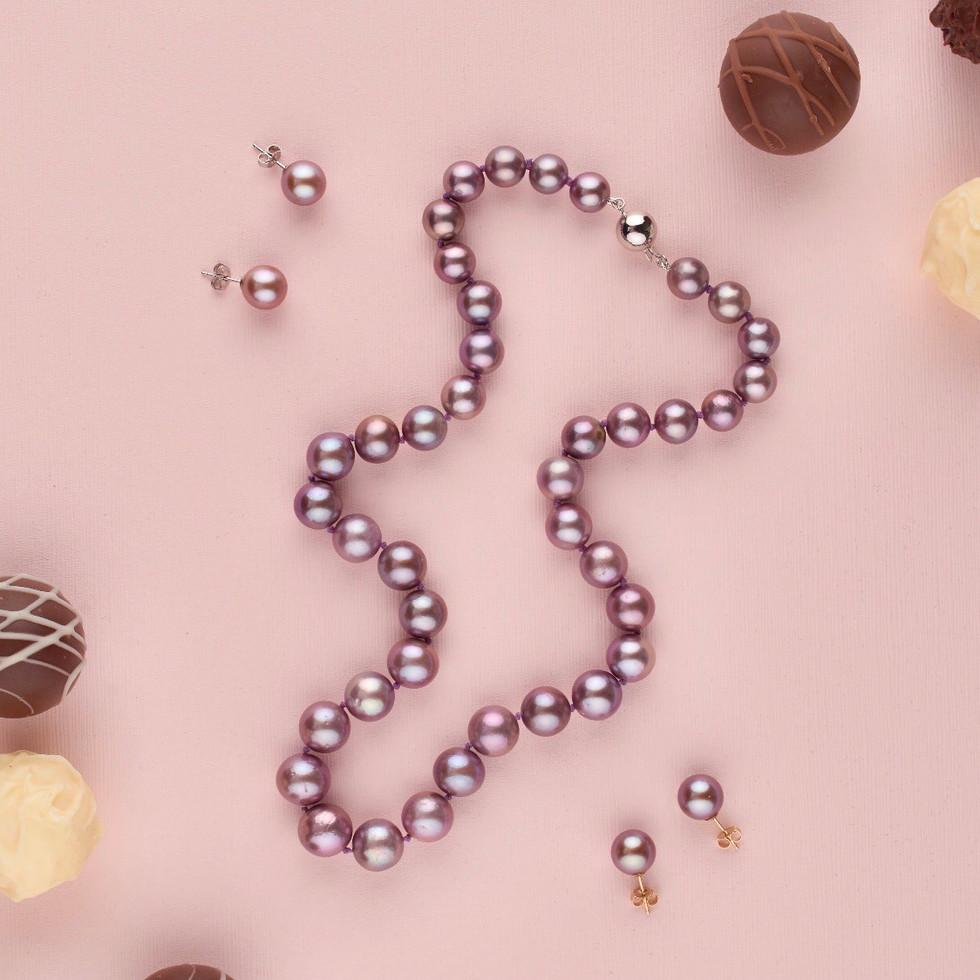 Purple Edison pearls and chocolates