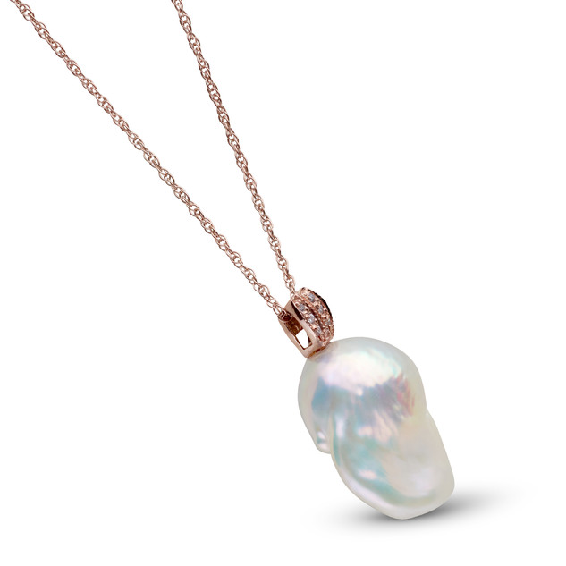 Freshwater Baroque Pearl and Rose Gold Pendant