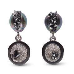 Little H black diamond tahitian dangles.