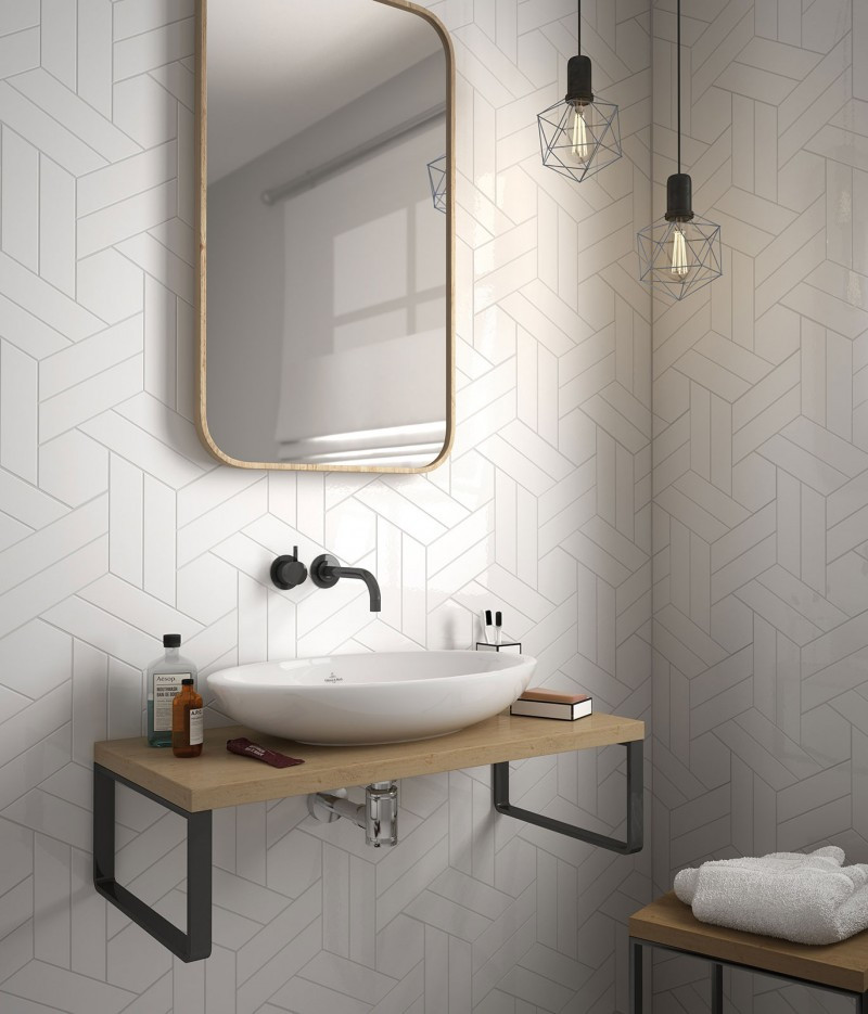 Chevron Wall collection from Ceramic Tile Works in the color White