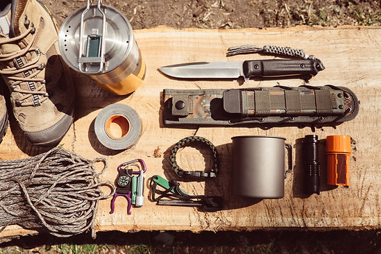Overhead top view of hiking travel gear