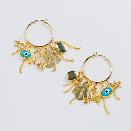 """""""Punk it Up"""" Charm Hoops, Gold"""