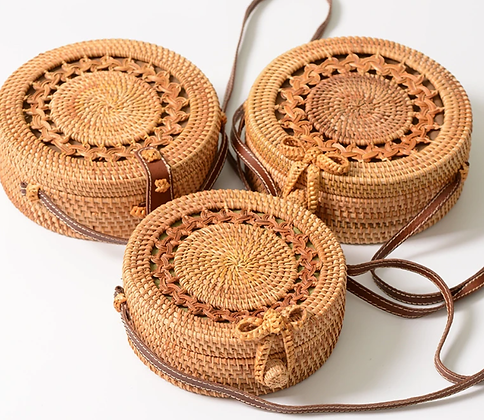 Round Rattan Bag w/ Leather Handle