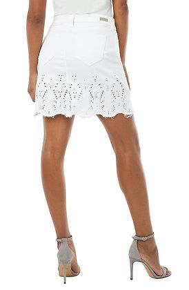 Raw Hem Skirt w/ Embroidery