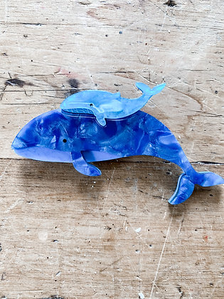 Blue Whales Brooch