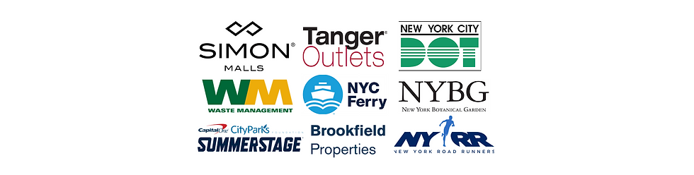 Simon Malls Tanger Outlets NYC DOT Waste Management NYC Ferry NYBG Summerstage Brookfield NYRR MASC