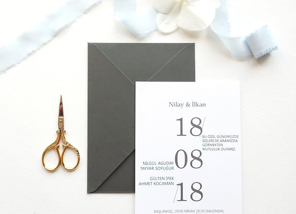 minimal tasarımlı düğün davetiyesi