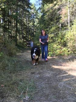 Lil' Bear and Jan walking