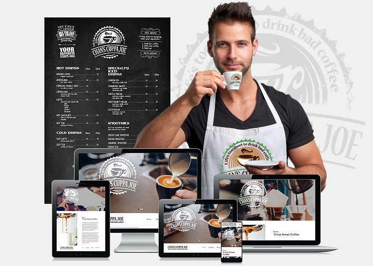 man coffeeshop website design
