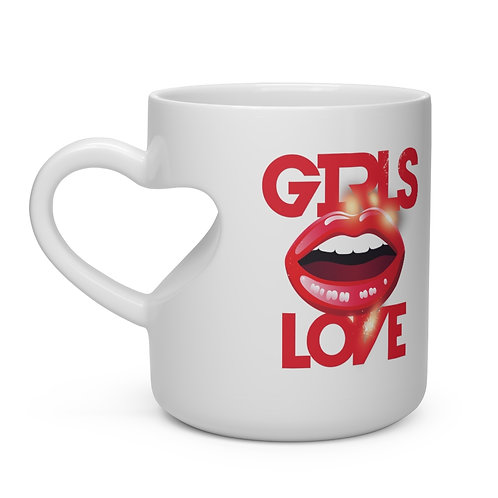 """Girls Love"" Heart Shape Mug"