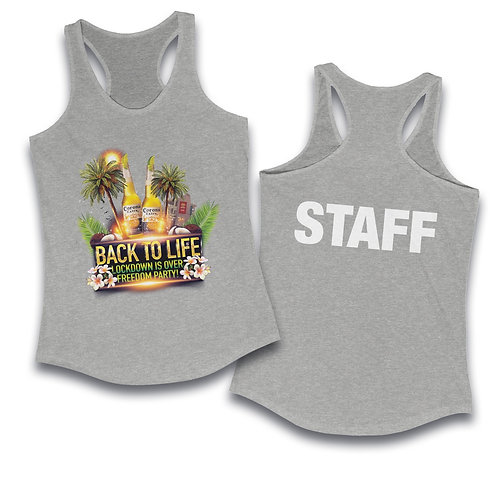 Staff Back to Life Party Women's Ideal Racerback Tank