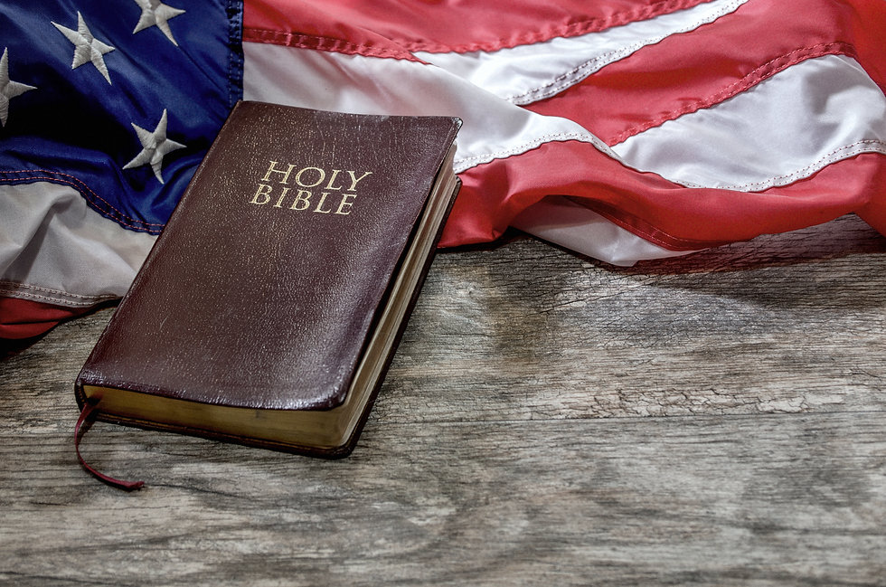 United States Flag and Bible on Distress
