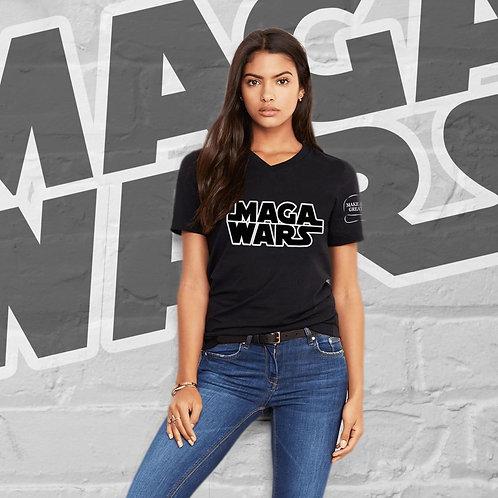 MAGA WARS Black Logo Guys & Gals Jersey Short Sleeve V-Neck Tee