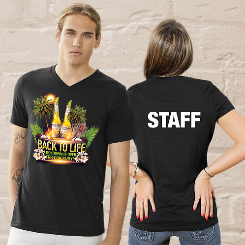 Staff Back to Life Party Unisex Jersey Short Sleeve V-Neck Tee