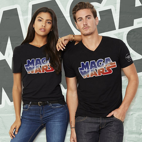 MAGA WARS Colored Logo Guys & Gals Jersey Short Sleeve V-Neck Tee