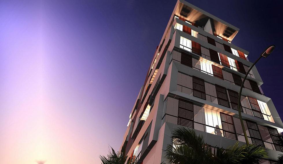 Detalhe da fachada em ACM do Ibiza