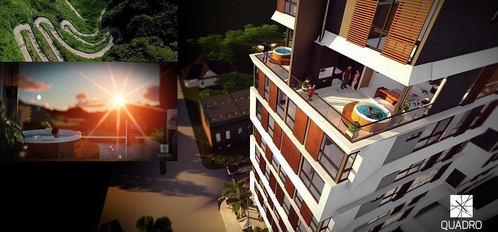 Vista aérea dos apartamentos Duplex do Ibiza