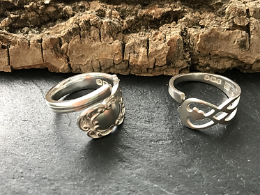 Wrap rings from the handles of silver te