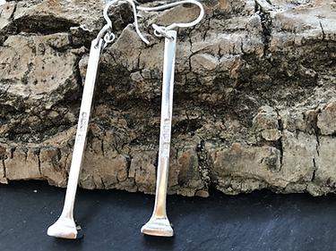 Drop earrings from silver teaspoon handles
