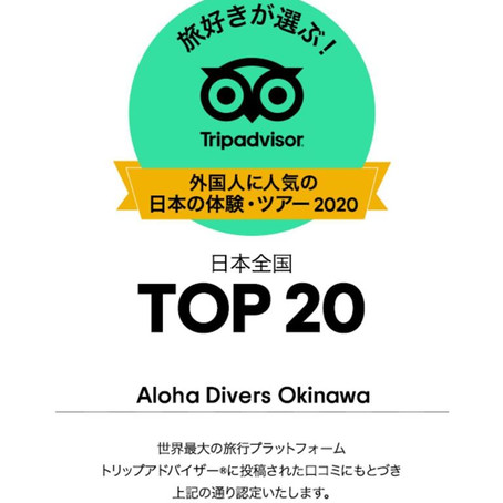 13° best activity and tour in the entire Japan - Aloha Divers Okinawa