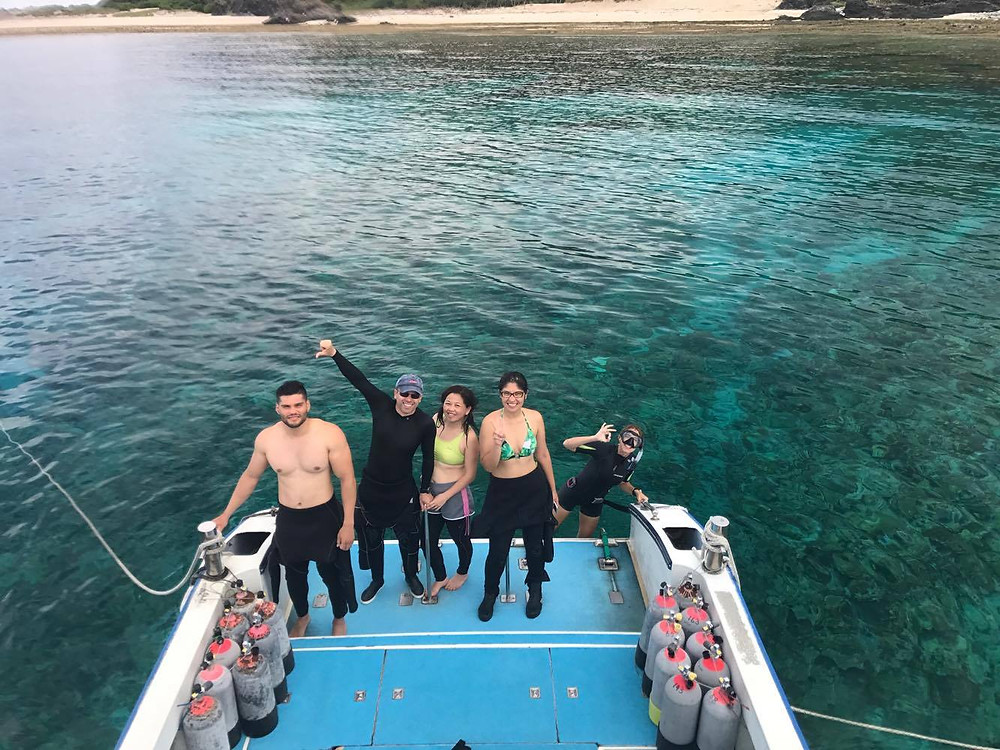 Brazilians diving in Kerama Islands