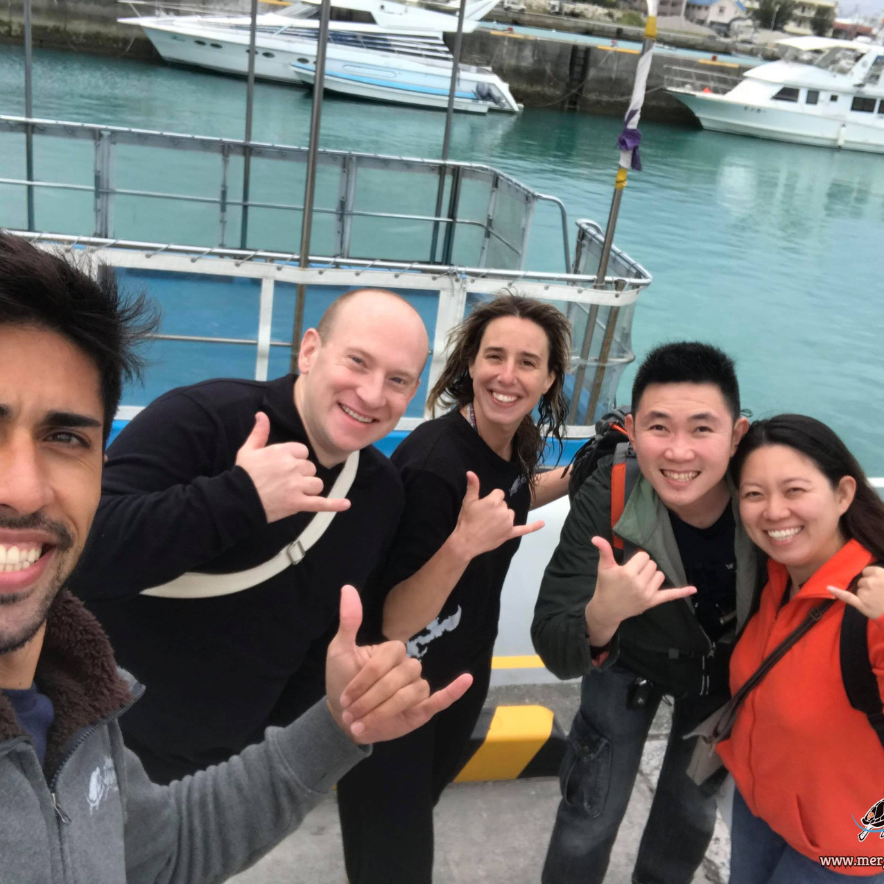 Fun divers doing boat dives during winter time in Okinawa with Aloha Divers Okinawa.