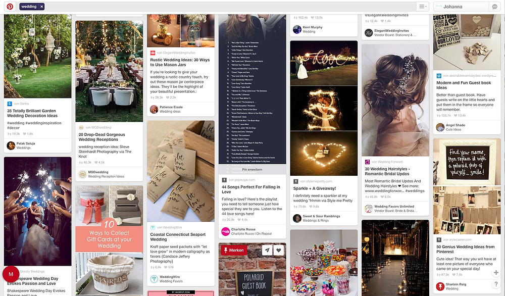 Pinterest - too much Information | Hochzeitsplanung Dekokonzept - Johanna Langer Weddings