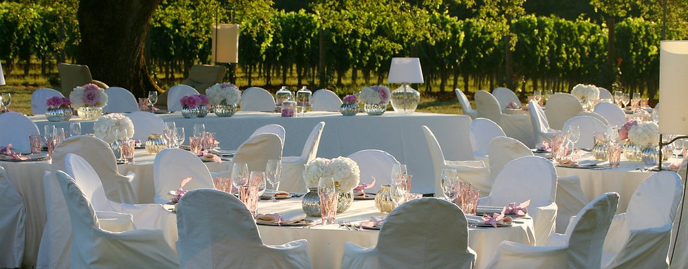 Heiraten in Kroatien Tafel im Freien Weingut Johanna Langer Weddings