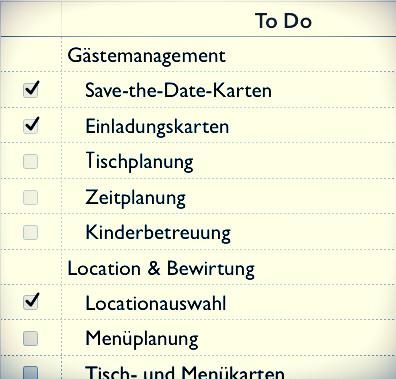 Hochzeitscheckliste Johanna Langer Weddings - Hochzeitsplanung