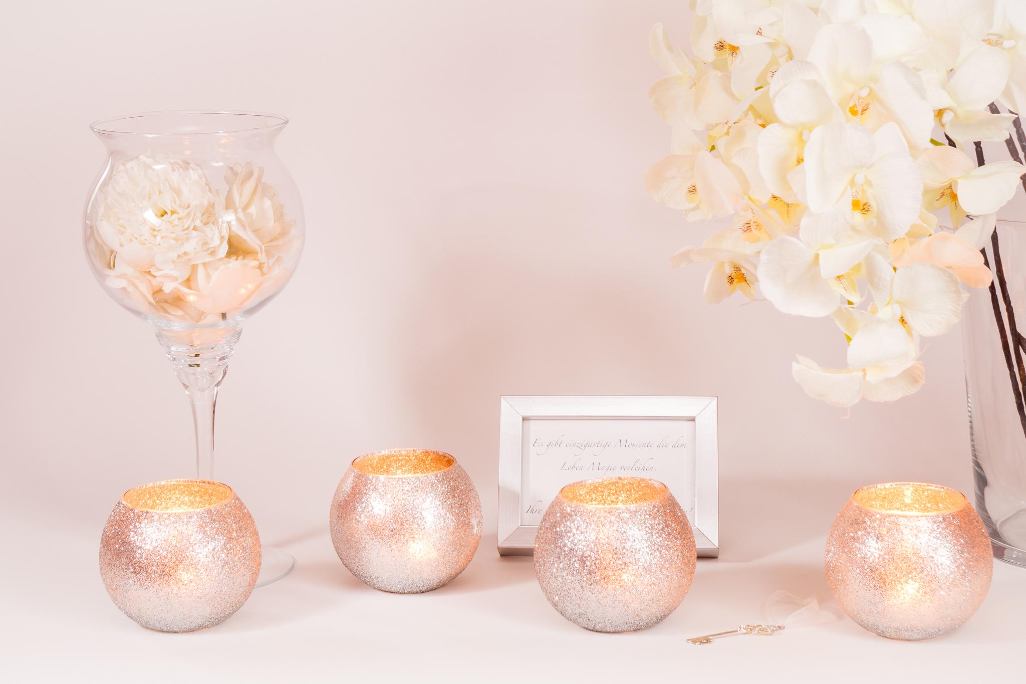 Kerzengläser Kugelglas Glitteroptik