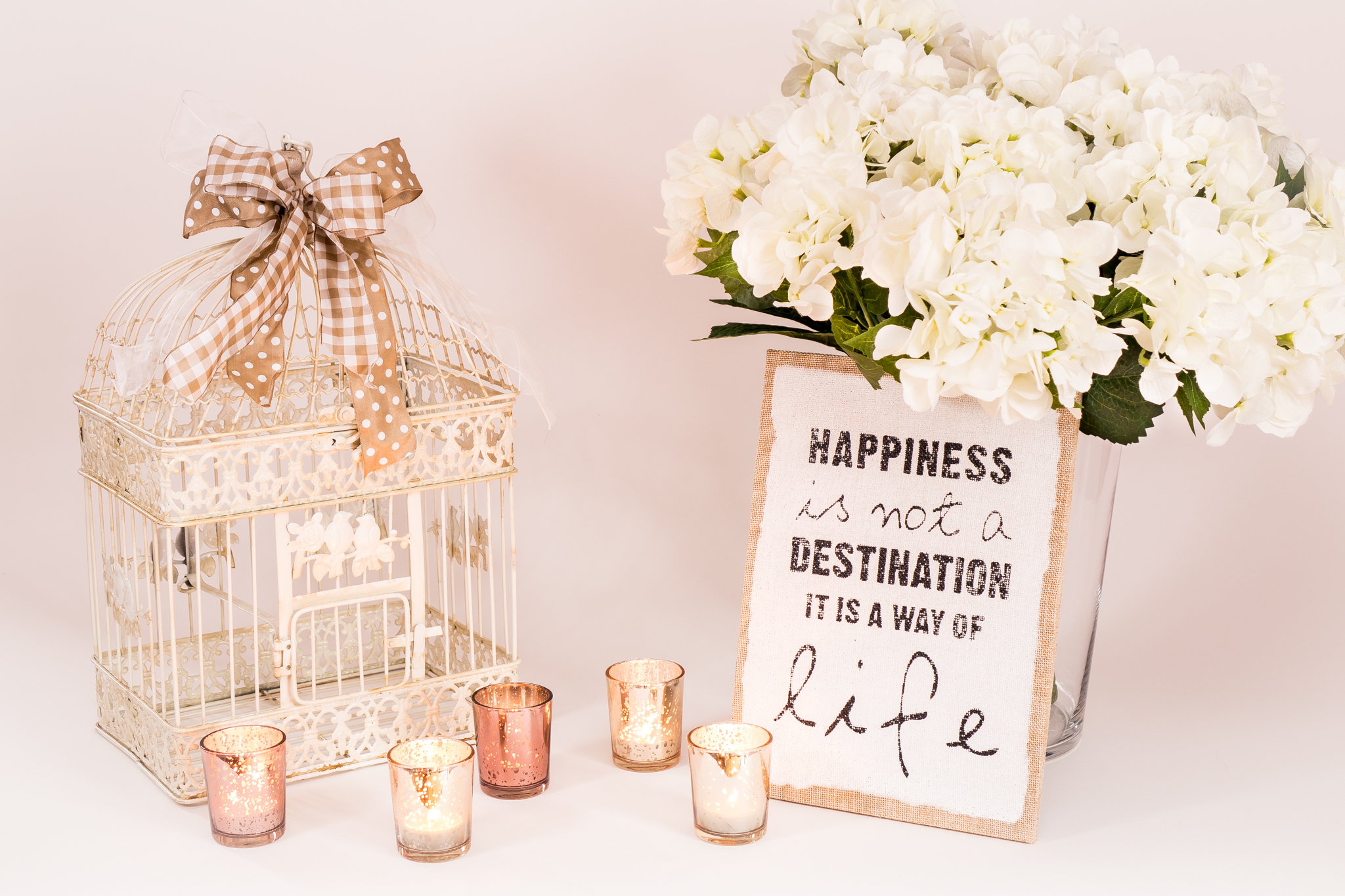 Vogelkäfig - Hortensien - Kerzen