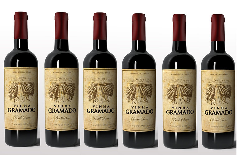 Kit 6 vinhos Vinha Gramado Tinto Suave