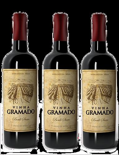 Kit 3 vinhos Vinha Gramado Tinto Suave