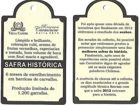 Villa Castro Carménère safra 2012