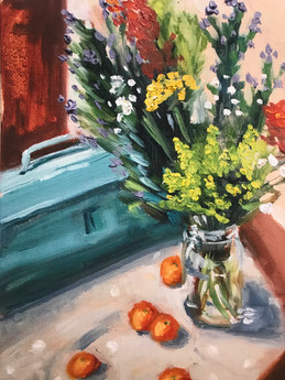 Still Life with Wildflowers, Clementines, and Vintage Toolbox