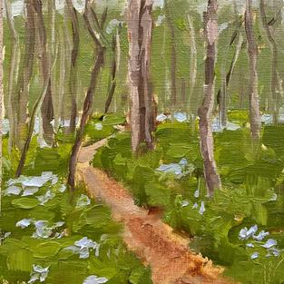 "Walking Path Through the Bluebells (5""x7"")"