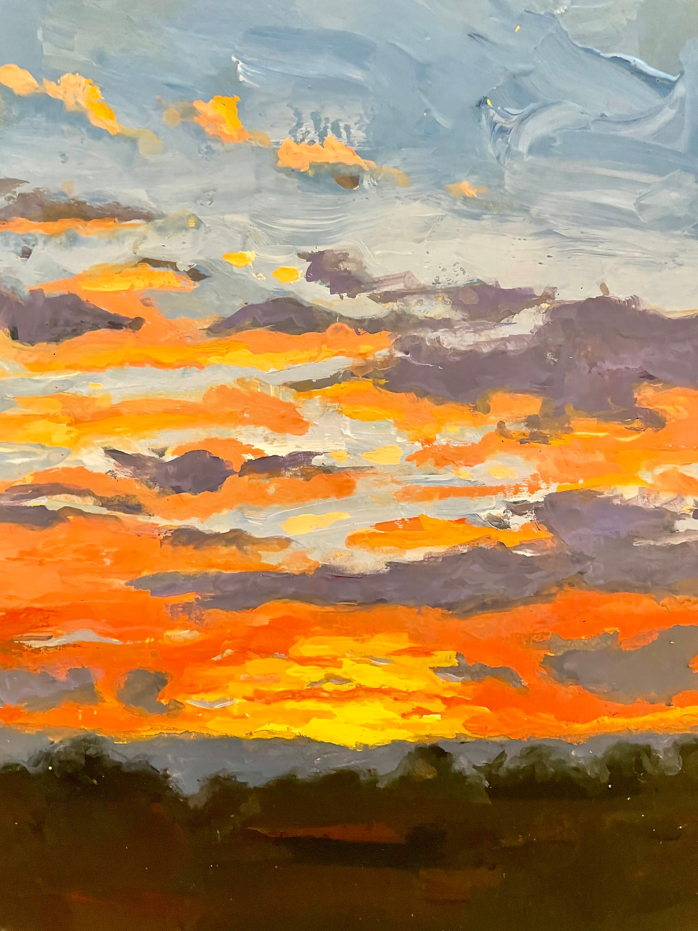 Gouache painting of a sunset with red and orange sky purple clouds over a dark landscape