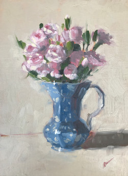 Pink Mini Roses in an Antique Blue and White Pitcher (2018)