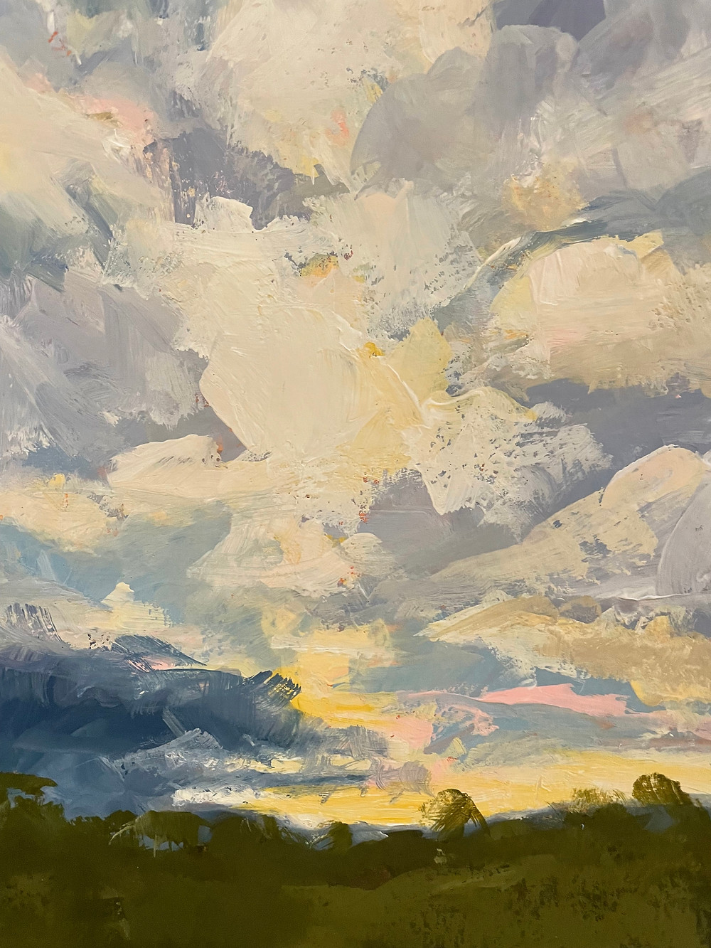 Painterly clouds in a sunset landscape using gouache paint