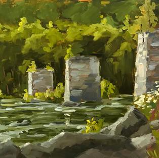 "Morning Light on Ruins, Harper's Ferry, West Virginia (9""x12"")"