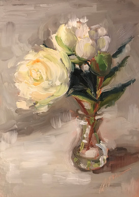 White Peonies in a Bulb Vase (2019)