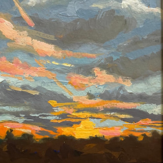 """Pink Contrails at Sunset (5""""x7"""")"""