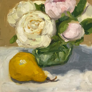 """Still Life with Peonies (8""""x8"""")"""
