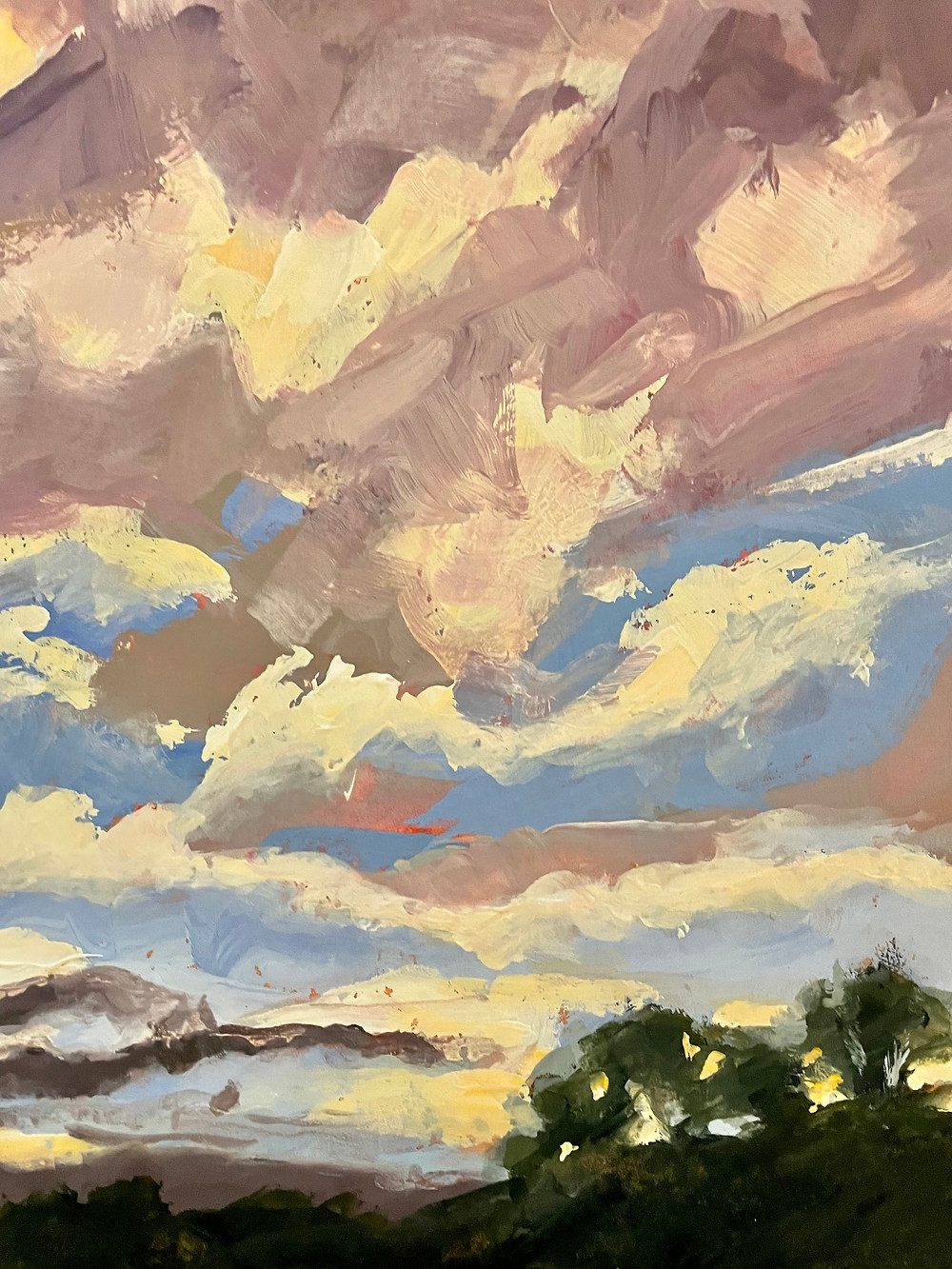Cloud filled sky at sunset gouache painting. Landscape painting
